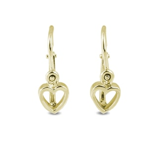 BABY HEART EARRINGS IN 14KT GOLD - YELLOW GOLD EARRINGS - EARRINGS