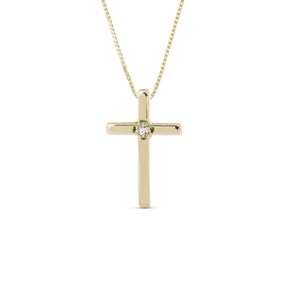 BABY DIAMOND CROSS PENDANT IN 14KT YELLOW GOLD - YELLOW GOLD PENDANTS - PENDANTS