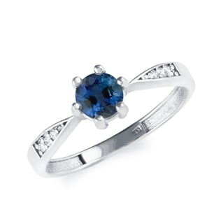 GOLD RING WITH A SAPPHIRE AND DIAMONDS - SAPPHIRE RINGS - RINGS