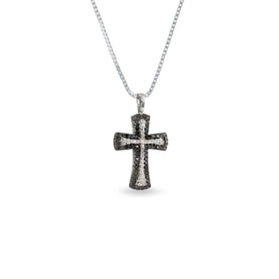 DIAMND CROSS PENDANT IN SILVER - STERLING SILVER PENDANTS - PENDANTS