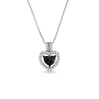 BLACK DIAMOND HEART NECKLACE IN 14KT GOLD - DIAMOND PENDANTS - PENDANTS