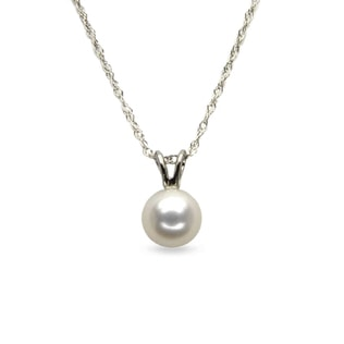 Pearl pendant in 14kt white gold