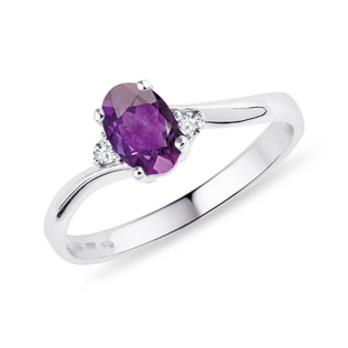 AMETHYST AND DIAMOND STERLING SILVER RING - ENGAGEMENT GEMSTONE RINGS - ENGAGEMENT RINGS