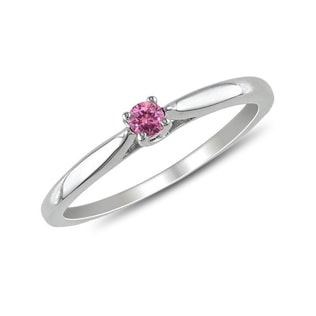 PINK DIAMOND STERLING SILVER RING - STERLING SILVER RINGS - RINGS