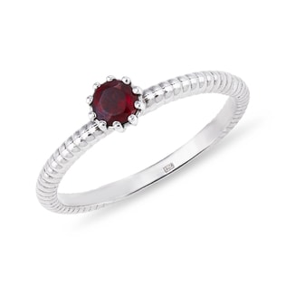 GARNET RING IN STERLING SILVER - STERLING SILVER RINGS - RINGS