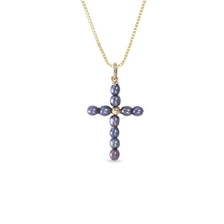 Pearl cross pendant in 14kt gold
