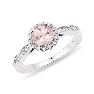 PLATINUM RING WITH DIAMONDS AND MORGANITE - WHITE GOLD FINE JEWELRY - FINE JEWELRY