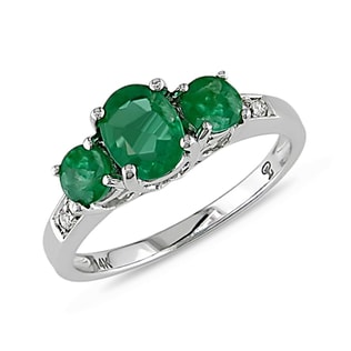 EMERALD RING IN 14KT WHITE GOLD - ENGAGEMENT GEMSTONE RINGS - ENGAGEMENT RINGS