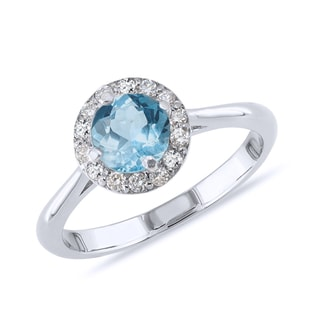 TOPAZ AND DIAMOND RING IN STERLING SILVER - ENGAGEMENT HALO RINGS - ENGAGEMENT RINGS