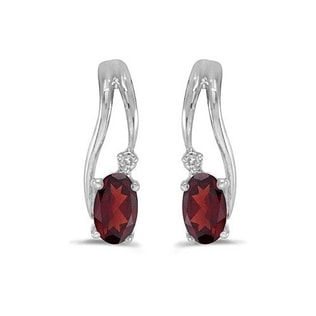 GARNET AND DIAMOND EARRINGS IN 14KT WHITE GOLD - WHITE GOLD EARRINGS - EARRINGS