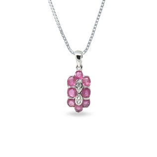 RUBY AND CZ PENDANT IN STERLING SILVER - STERLING SILVER PENDANTS - PENDANTS