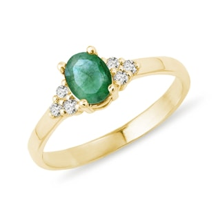 GOLD RING WITH EMERALD - EMERALD RINGS - RINGS