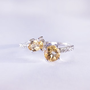 STERLING SILVER RING WITH CITRINE - FINE JEWELLERY