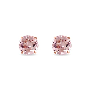 MORGANITE STUD EARRINGS IN 14KT ROSE GOLD - GEMSTONES EARRINGS - EARRINGS