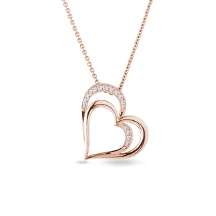 Heart with diamonds in rose gold