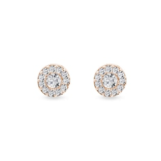 EARRINGS WITH DIAMONDS PINK GOLD - DIAMOND EARRINGS - EARRINGS