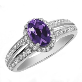 AMETHYST ENGAGEMENT RING - STERLING SILVER RINGS - RINGS