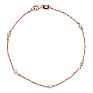 DIAMOND BRACELET IN 14KT ROSE GOLD - WOMEN'S BRACELETS - FINE JEWELLERY