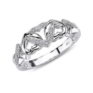 DIAMOND HEARTS RING  IN SILVER - STERLING SILVER RINGS - RINGS