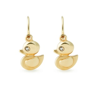 BABY DIAMOND DUCK EARRINGS IN 14KT GOLD - CHILDREN'S EARRINGS - EARRINGS
