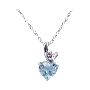 AQUAMARINE AND DIAMOND HEART PENDANT IN SILVER - HEART PENDANTS - PENDANTS