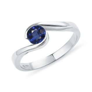 GOLD ENGAGEMENT RING WITH SAPPHIRE - FINE JEWELLERY