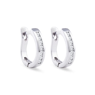 Diamond hoop earrings in 14kt white gold