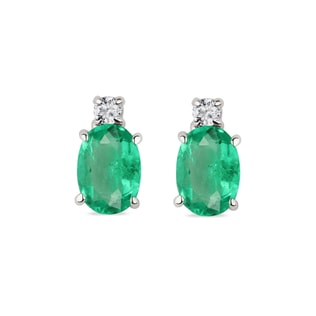 EMERALD AND DIAMOND EARRINGS IN 14KT WHITE GOLD - EMERALD EARRINGS - EARRINGS