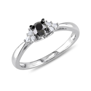 DIAMOND ENGAGEMENT RING IN STERLING SILVER - FANCY DIAMOND ENGAGEMENT RINGS - ENGAGEMENT RINGS