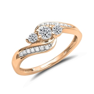 DIAMOND ENGAGEMENT RING IN ROSE GOLD - DIAMOND RINGS - RINGS