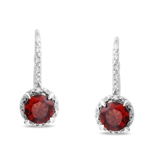 GARNET AND DIAMOND EARRINGS IN STERLING SILVER - GARNET EARRINGS - EARRINGS