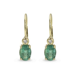 EMERALD AND DIAMOND EARRINGS IN 14KT GOLD - YELLOW GOLD EARRINGS - EARRINGS