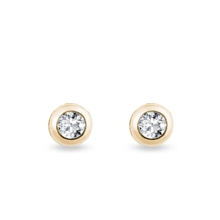 DIAMOND EARRINGS IN YELLOW GOLD - STUD EARRINGS - EARRINGS