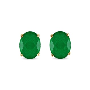 OVAL EMERALD EARRINGS IN YELLOW GOLD - EMERALD EARRINGS - EARRINGS