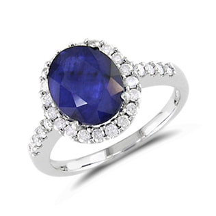 SAPPHIRE RING IN WHITE GOLD - ENGAGEMENT HALO RINGS - ENGAGEMENT RINGS
