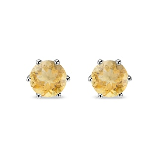 GOLD EARRINGS WITH CITRINE - CITRINE QUARTZ EARRINGS - EARRINGS