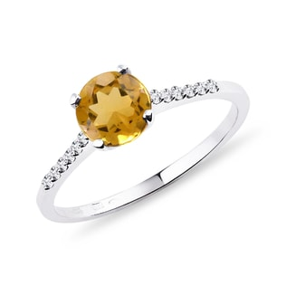 Gold diamond ring with citrine