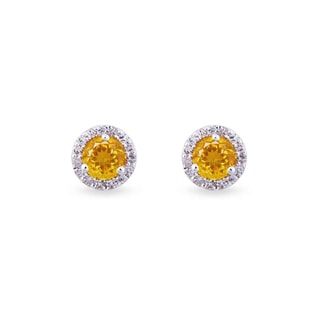 GOLDEN CITRINE EARRINGS WITH DIAMONDS - GEMSTONES EARRINGS - EARRINGS