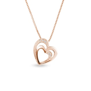 Rose gold heart pendant with diamonds
