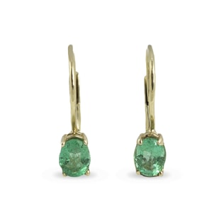 EMERALD 14KT GOLD EARRINGS - YELLOW GOLD EARRINGS - EARRINGS