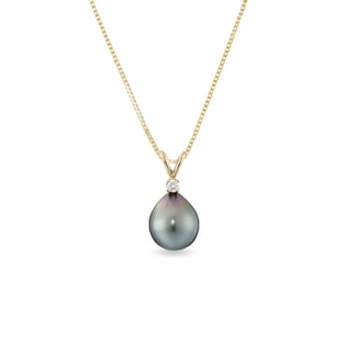 TAHITIAN PEARL AND DIAMOND PENDANT IN 14KT GOLD - TAHITIAN PEARLS JEWELLERY - PEARL JEWELLERY