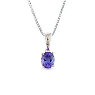 TANZANITE PENDANT IN 14KT GOLD - WHITE GOLD PENDANTS - PENDANTS