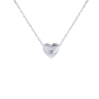 HEART PENDANT IN 14KT WHITE GOLD - HEART PENDANTS - PENDANTS