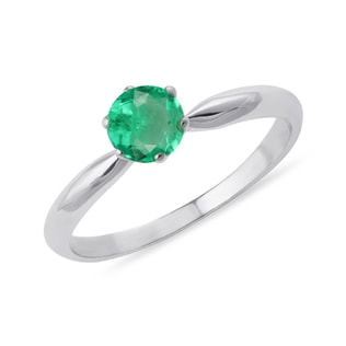 GOLD RING WITH AN EMERALD - ENGAGEMENT GEMSTONE RINGS - ENGAGEMENT RINGS
