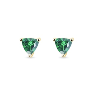 Yellow gold earrings with emerald