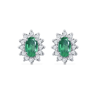 WHITE GOLD EARRINGS WITH DIAMONDS AND EMERALDS - EMERALD EARRINGS - EARRINGS