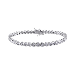 STERLING SILVER BRACELET WITH DIAMONDS - WOMEN'S BRACELETS - FINE JEWELLERY