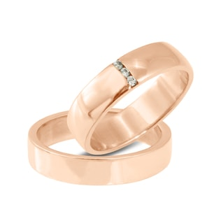 DIAMOND WEDDING RINGS IN 14KT ROSE GOLD - ROSE GOLD RINGS - WEDDING RINGS