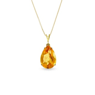 CITRINE PENDANT IN 14KT GOLD - YELLOW GOLD PENDANTS - PENDANTS