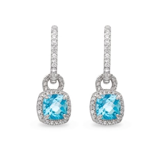 BLUE TOPAZ AND WHITE SAPPHIRE PENDANT EARRINGS - STERLING SILVER EARRINGS - EARRINGS